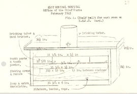 Diagram of a washroom shelf for the Eye, Ear, Nose, and Throat Ward, 21st General Hospital, Raven...