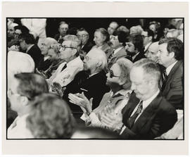 Henry G. Schwartz and John Hobbs in the audience at the West Pavilion dedication.