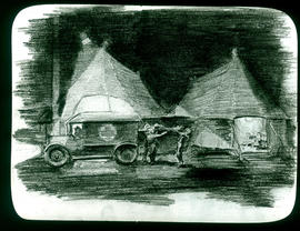 Sketch of a casualty being unloaded from an ambulance by Arthur Proetz.