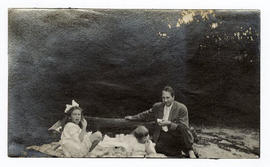 Philip A. Shaffer and his daughters during a picnic.