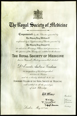 Honorary membership certificate to the Royal Academy of Medicine.