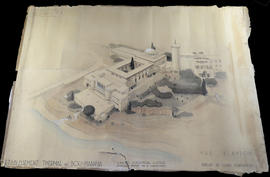 Architectural rendering of the Establissement thermale de Bou Haifia, Bou Hanifia, Algeria.