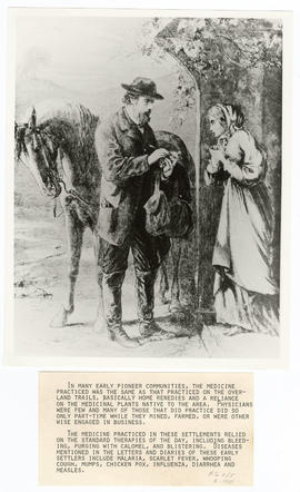 Artist's rendering of a frontier doctor bringing medicine to a woman.
