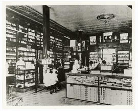 Interior view of a drug store.