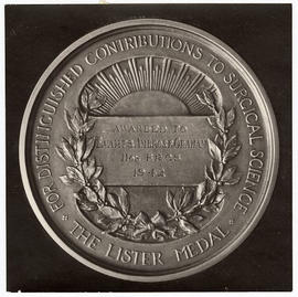 Close-up view of a Lister Medal awarded to Evarts A. Graham.