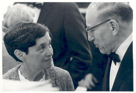 Ruth Silberberg speaking with an unidentified man at the reception for the Martin Silberberg Memo...