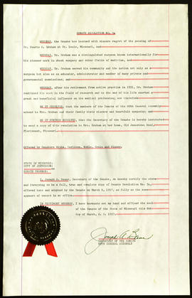 Senate Resolution #54, State of Missouri Memorial Tribute to Evarts A. Graham.