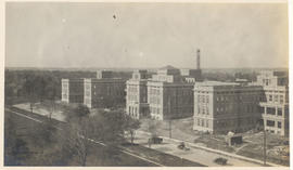 View of Barnes Hospital under construction.
