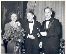 Group portrait of Gerty T. Cori, Carl E. Pfeiffer, and Carl F. Cori at the 1946 American Chemical...