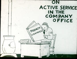 """On active service in the company office"" cartoon."