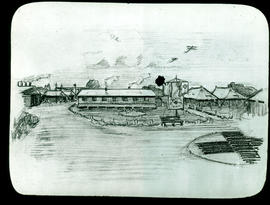 Sketch of Base Hospital 21 buildings by Arthur Proetz.