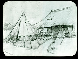 Sketch of an open-air tent ward by Arthur Proetz.