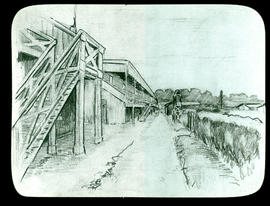 Sketch of the grandstands used for officers quarters and huts for enlisted men's barracks by Arth...