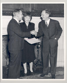 Joseph Erlanger, Gerty T. Cori, and Carl F. Cori at a Washington University Faculty Night Party.