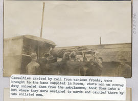 Casualties being unloaded from ambulances and carried into the Receiving Hut, Base Hospital 21, R...
