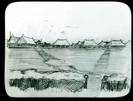Sketch of Base Hospital 21 tents by Arthur Proetz.