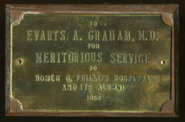 Meritorious Service Award plaque, Homer G. Phillips Hospital and Alumni.
