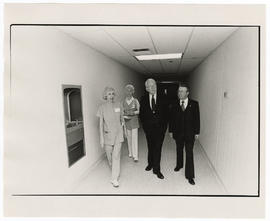 Betty Colter, Elaine Wenneker, Harold E. Thayer, and Robert E. Frank touring Barnes West Pavilion.
