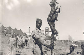 Arab soldier of the 7th co RTA displaying his prize-winning meschoui (roasted sheep), Bou Hanifia...