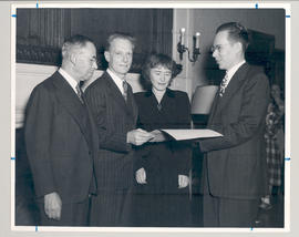 Joseph Erlanger, Carl F. Cori, Gerty T. Cori, and Carl F. Dauten at a Washington University Facul...