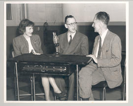 Gerty T. and Carl F. Cori being interviewed by an unidentified radio host.