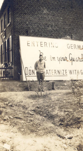 1st Lt. William B. Sargent entering Germany from Holland.