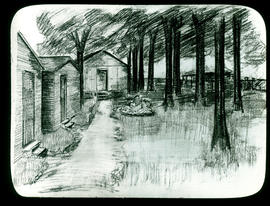 Sketch of barracks adjacent to trees by Arthur Proetz.