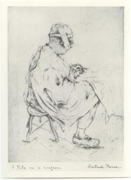 "Sketch of Vilray P. Blair by Gertrude Hance titled, ""A note on a surgeon."""