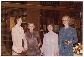 Group portrait of Betsy Mueth, Judith Baumgarten, Audrey L. Berkley, and Margaret Park Coxe at a ...