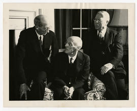 Group portrait of Philip A. Shaffer, Abraham Flexner, and Robert J. Terry on the 50th anniversary...