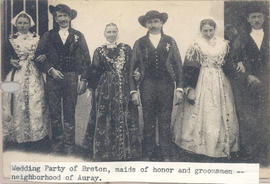 Wedding party of Breton, maids of honor and groomsmen, Auray, France.
