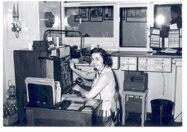 Woman operating a switchboard, St. Louis Children's Hospital.