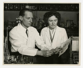 Carl F. and Gerty T. Cori at work in the laboratory.