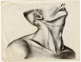 Aphrodite J. Hofsommer drawing of a man's head in profile, created for publication by Ellis Fischel.