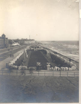 Enlisted men on the beach, Blackpool, England.