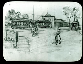 Sketch of a street scene by Arthur Proetz.