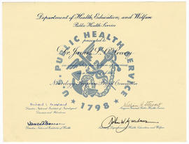 Certificate of Appreciation to James L. O'Leary from the Department of Health, Education, and Wel...