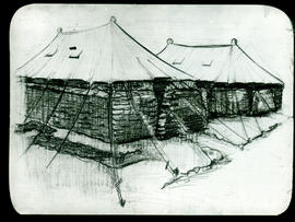 Sketch of sandbagged tents by Arthur Proetz.