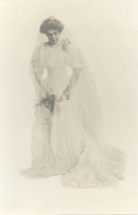 Portrait of Kathryn Johnson Blair in her wedding dress.