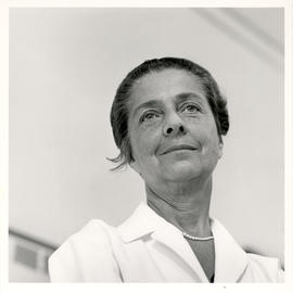 Portrait of Rita Levi-Montalcini in her laboratory.