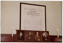 View of a framed commemoration at a St. Louis Medical Society reception honoring the Baumgarten f...