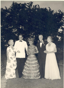 Helen Tredway and Evarts A. Graham with three unidentified people.