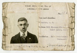 Base Hospital 21, American Red Cross ID card, Arshay K. Nushan, male administrative personnel.