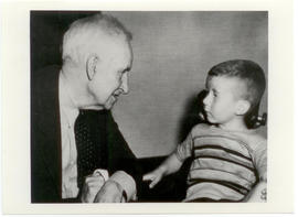 Vilray P. Blair with a young boy, likely a patient.