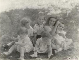 Group portrait of Vilray P. Blair's children by Sally Burkham.