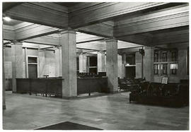 Interior view of the Barnes Hospital lobby.