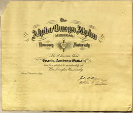 Alpha Omega Alpha Honorary Fraternity certificate.