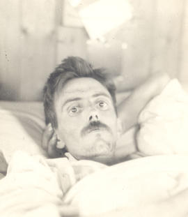 Lieutenant Colonel J. Branson in a hospital bed.