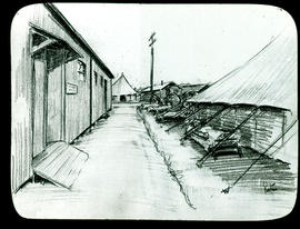 Sketch of buildings, tents, and patients on stretchers by Arthur Proetz.