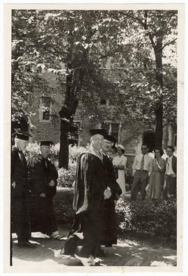 Evarts A. Graham in academic regalia at a Washington Universtiy Commencement ceremony.
